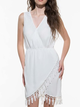 Plain Tassel Patchwork V Neck Day Dress