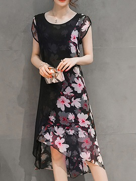 Floral Print Round Neck Day Dress