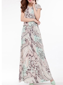 Chic V Neck Short Sleeve Print Maxi Dress