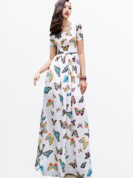 Print Round Neck Short Sleeve Maxi Dress