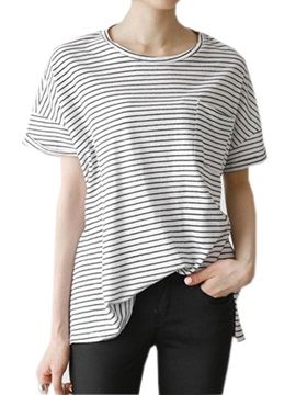 Simple Pocket Decoration Stripe T Shirt