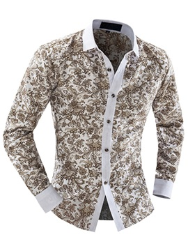 Floral Printed Mens Casual Long Sleeve Shirt