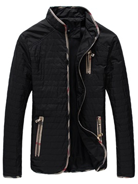Zipper Mens Stand Collar Jacket