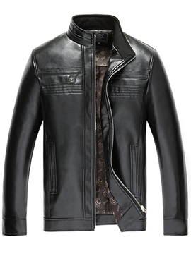 Stand Collar Mens Pu Jacket