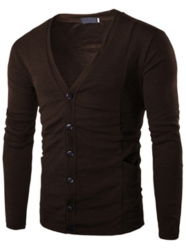 V Neck Mens Single Breasted Sweater