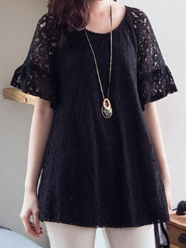 Stylish Hollow Lace Raglan Sleeves Blouse