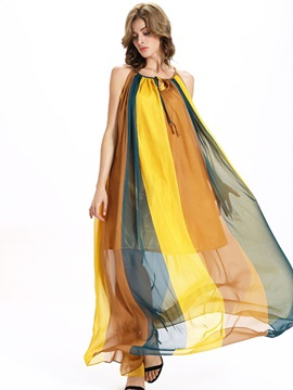 Sisjuly® Stripe Contrast Color Sleeveless Maxi Dress