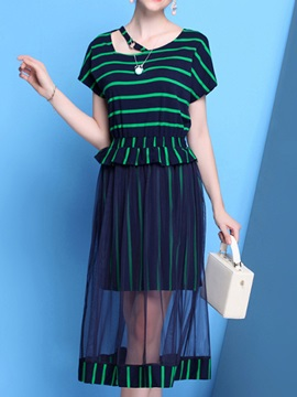 Stripe Falbala Patchwork Short Sleeve Day Dress