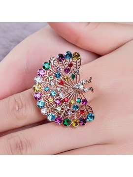 Shining Colorful Peacock Beading Index Finger Ring