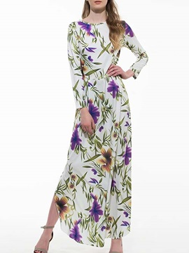 Floral Print Long Sleeve Split Dress