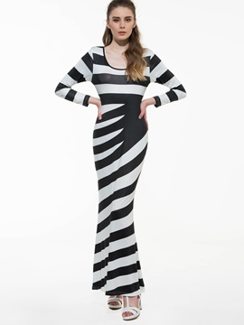 Stripe Contrast Color Long Sleeve Dress
