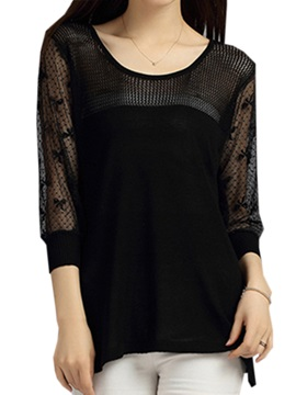 See Through Three Quarter Sleeves Blouse