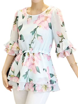 Stylish Half Sleeves Floral Print Blouse