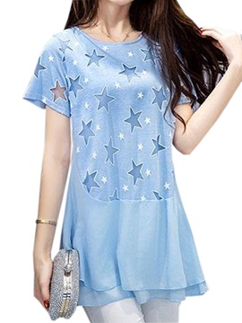 Special Star Pattern Double Layer Hem Blouse
