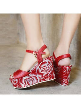 Floral Printed Sequins Wedge