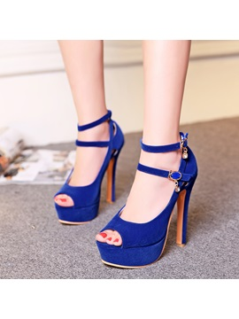 Suede Peep Toe Platform Sandals Plus Size Avilable