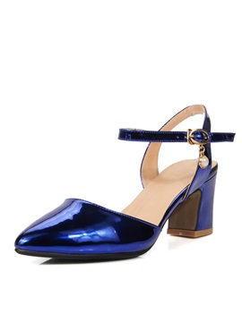 Solid Color Round Toe Ankle Strap Sandals