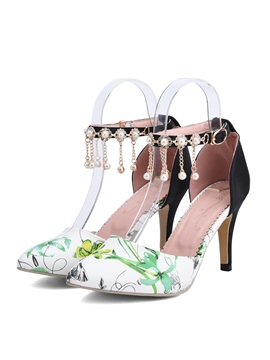 Beading Floral Printed Ankle Strap Sandals