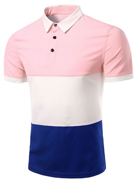Color Block Mens Short Sleeve Polo