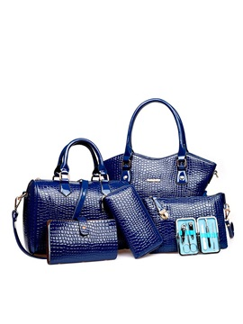 Pure Color Embossing Womens Bag Set Six Bags