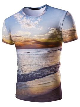 Scenery Printed Mens Short Sleeve T Shirt