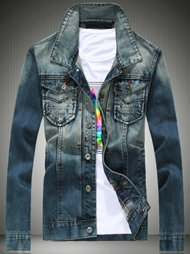 Denim Mens Stand Collar Jacket