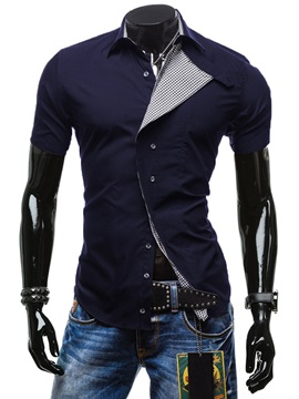 Solid Color Mens Short Sleeve Casual Shirt