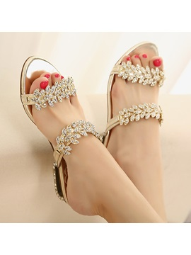 Metallic Rhinestone Open Toe Sandals