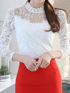 Stylish See Through Lace Decoration Slim T Shirt