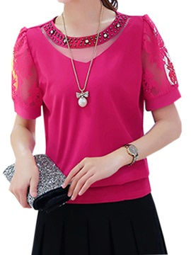 See Through Bead Decoration Collar Blouse