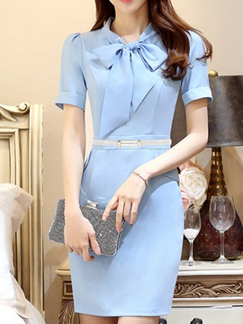 Chic Two In One Day Dress With Bowknot