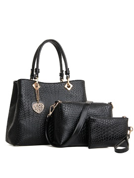 Fashion Embossing With Heart Pendant Womens Bag Set Three Bags