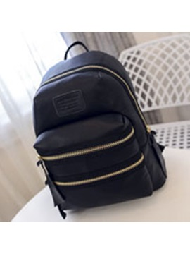 Casual Style Double Zipper Womens Backpack