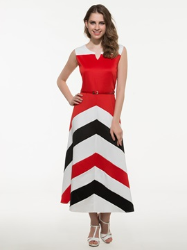 Chic Stripe Sleeveless Maxi Dress
