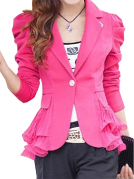 Stylish Double Layer Pleated Hem Blazer