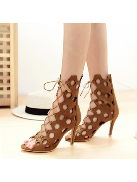 Pu Hollow Lace Up Heel Sandals