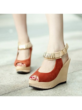 Retro Suede Peep Toe Wedge