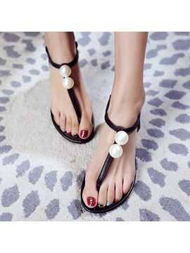 Style Beaded Thong Flat Sandals