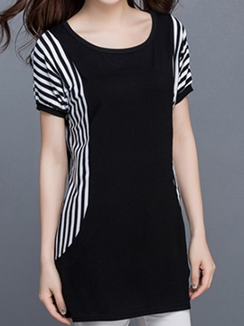Stylish Stripe Sleeves Slim T Shirt