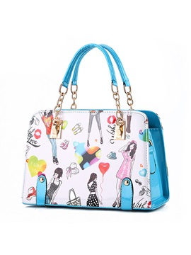 Sweet Color Chic Pattern Printed Womens Satchel