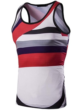 Stripe Slim Fit Mens Cotton Blends Vest