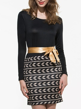 Patchwork Long Sleeve Belt Bodycon Dress
