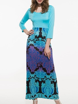 Chic Empire Waist Print 3 4 Sleeve Maxi Dress