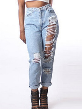 Ripped Denim Worn Out Boyfriend Jeans