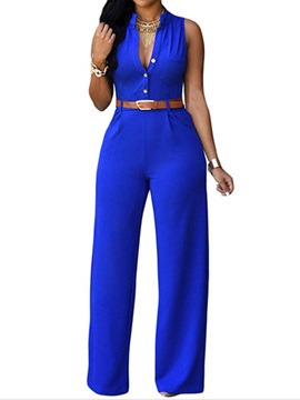 Candy Color Buckle Lapel Plus Size Jumpsuit