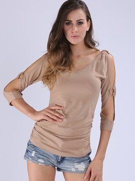 Stylish Hollow Sleeves Slim T Shirt