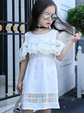 Off Shoulder Hollow Out Girls Dress