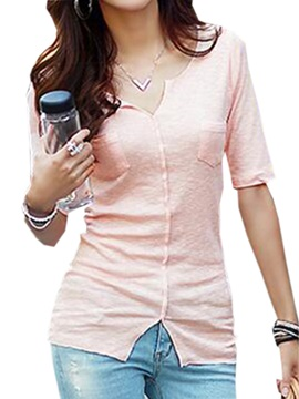 Casual Button Decoration Slim T Shirt