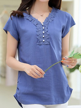 Chic Lace Decoration Collar Slim Blouse