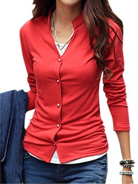 Special Collar Button Decoration T Shirt